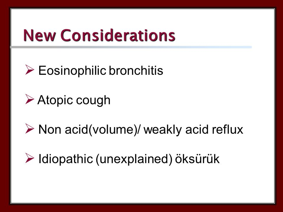 Eosinophilic Eronchitis Airway obstruction Bronchial hyperreactivity NO YES YES NO Asthmatic Coughs Cough Variant Asthma Asthma
