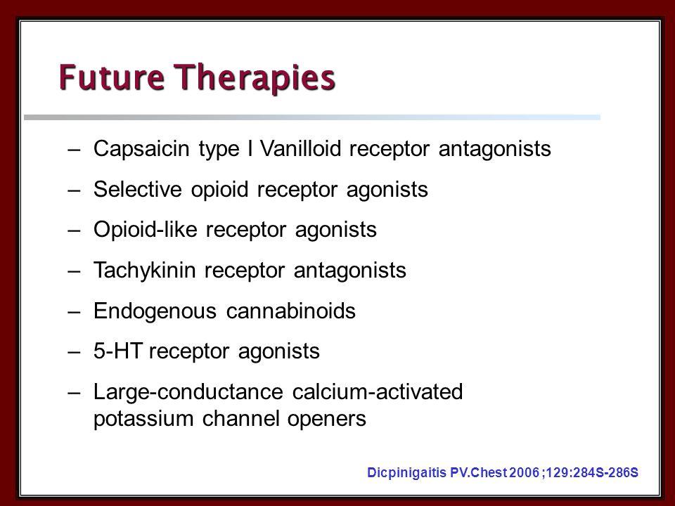 –Capsaicin type I Vanilloid receptor antagonists –Selective opioid receptor agonists –Opioid-like receptor agonists –Tachykinin receptor antagonists –