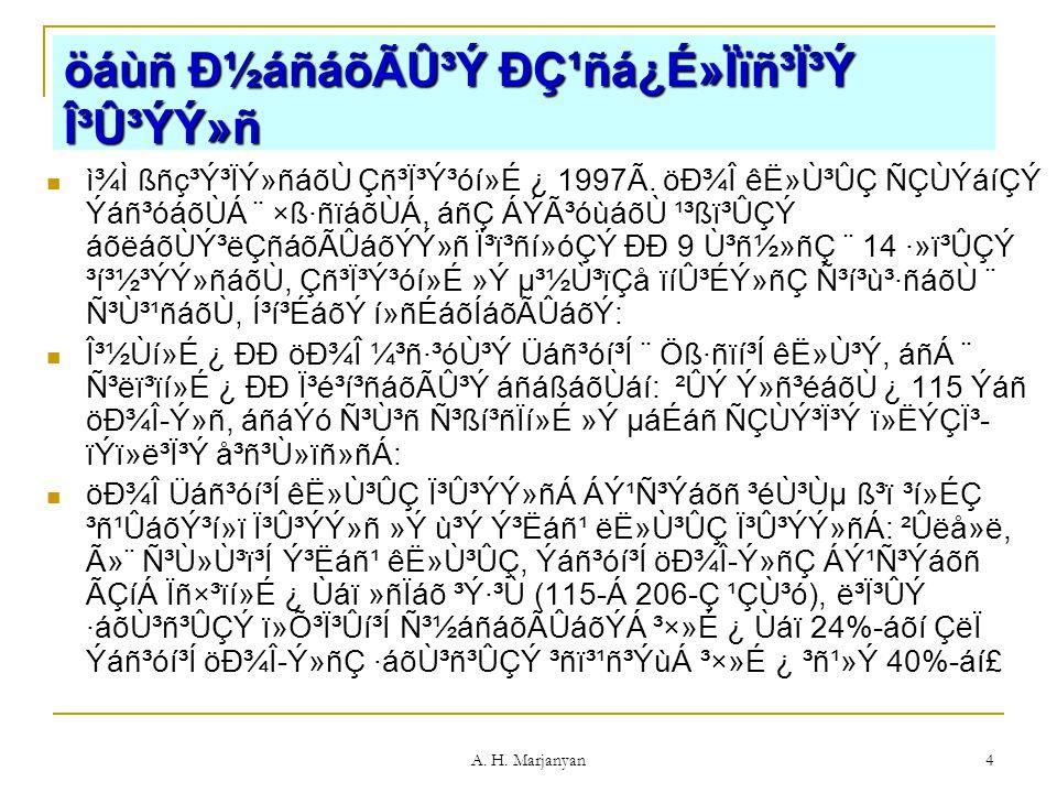A. H. Marjanyan 4 öáùñ нáñáõÃÛ³Ý Ðǹñá¿É»Ïïñ³Ï³Ý γ۳ÝÝ»ñ ì¾Ì ßñç³Ý³ÏÝ»ñáõÙ Çñ³Ï³Ý³óí»É ¿ 1997Ã. öоΠêË»Ù³ÛÇ ÑÇÙÝáíÇÝ Ýáñ³óáõÙÁ ¨ ×ß·ñïáõÙÁ, áñÇ ÁÝÃ