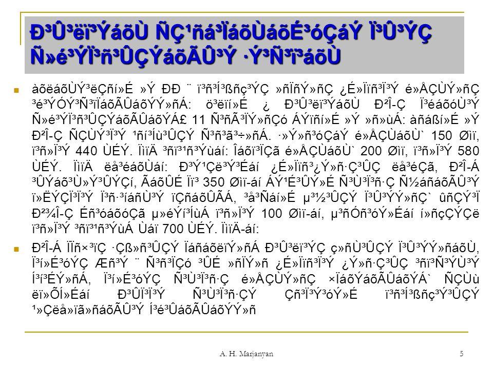 A. H. Marjanyan 5 г۳ëï³ÝáõÙ Ñǹñá³ÏáõÙáõɳóÇáÝ Ï³Û³ÝÇ Ñ»é³Ýϳñ³ÛÇÝáõÃÛ³Ý ·Ý³Ñ³ï³áõÙ àõëáõÙݳëÇñí»É »Ý ÐÐ ¨ ï³ñ³Í³ßñç³ÝÇ »ñÏñÝ»ñÇ ¿É»Ïïñ³Ï³Ý é»ÅÇÙÝ»ñ