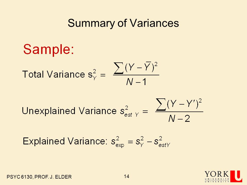 PSYC 6130, PROF. J. ELDER 14 Summary of Variances