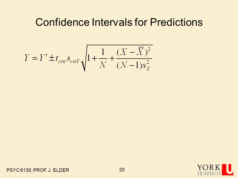 PSYC 6130, PROF. J. ELDER 20 Confidence Intervals for Predictions