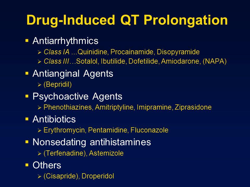 Drug-Induced QT Prolongation  Antiarrhythmics  Class IA...Quinidine, Procainamide, Disopyramide  Class III…Sotalol, Ibutilide, Dofetilide, Amiodaro