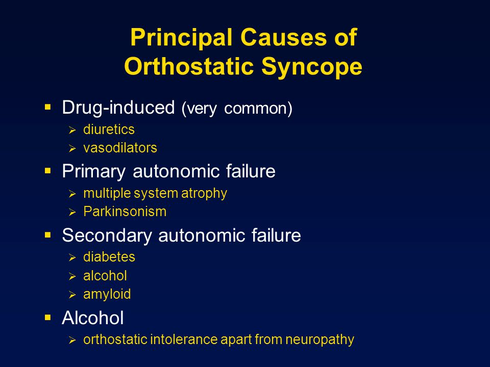Principal Causes of Orthostatic Syncope  Drug-induced (very common)  diuretics  vasodilators  Primary autonomic failure  multiple system atrophy  Parkinsonism  Secondary autonomic failure  diabetes  alcohol  amyloid  Alcohol  orthostatic intolerance apart from neuropathy