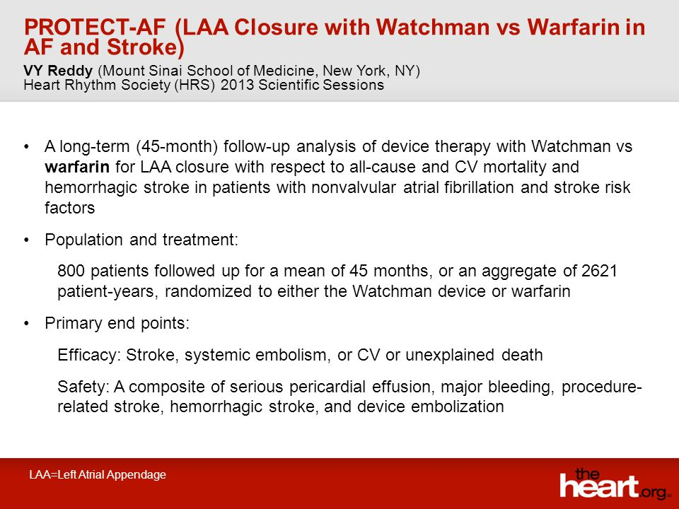PROTECT-AF (LAA Closure with Watchman vs Warfarin in AF and Stroke) A long-term (45-month) follow-up analysis of device therapy with Watchman vs warfarin for LAA closure with respect to all-cause and CV mortality and hemorrhagic stroke in patients with nonvalvular atrial fibrillation and stroke risk factors Population and treatment: 800 patients followed up for a mean of 45 months, or an aggregate of 2621 patient-years, randomized to either the Watchman device or warfarin Primary end points: Efficacy: Stroke, systemic embolism, or CV or unexplained death Safety: A composite of serious pericardial effusion, major bleeding, procedure- related stroke, hemorrhagic stroke, and device embolization VY Reddy (Mount Sinai School of Medicine, New York, NY) Heart Rhythm Society (HRS) 2013 Scientific Sessions LAA=Left Atrial Appendage
