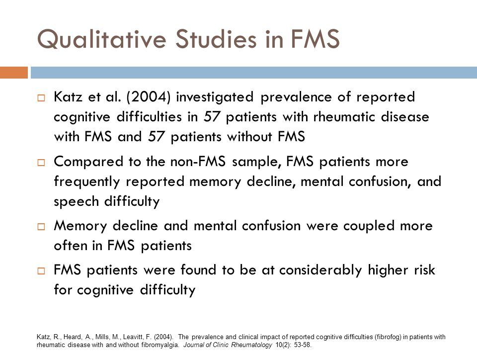 Qualitative Studies in FMS  Katz et al.