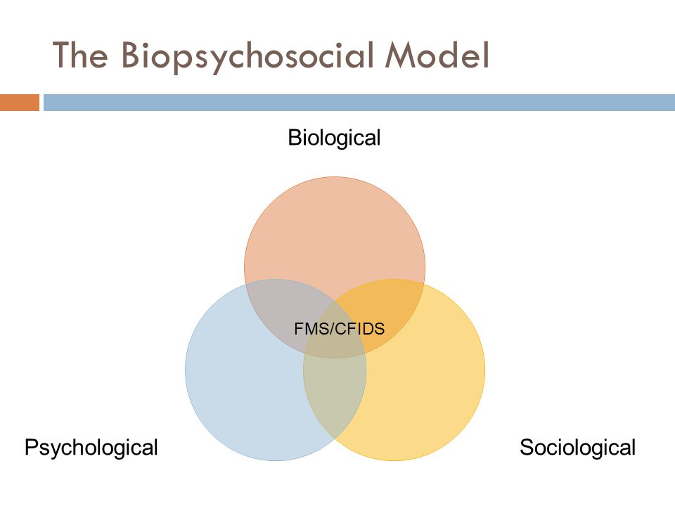 The Biopsychosocial Model Biological SociologicalPsychological FMS/CFIDS