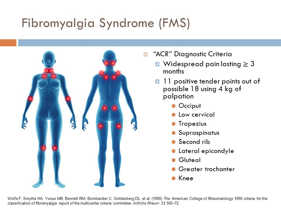 Fibromyalgia Syndrome (FMS)  ACR Diagnostic Criteria  Widespread pain lasting ≥ 3 months  11 positive tender points out of possible 18 using 4 kg of palpation Occiput Low cervical Trapezius Supraspinatus Second rib Lateral epicondyle Gluteal Greater trochanter Knee Wolfe F, Smythe HA, Yunus MB, Bennett RM, Bombardier C, Goldenberg DL, et al.