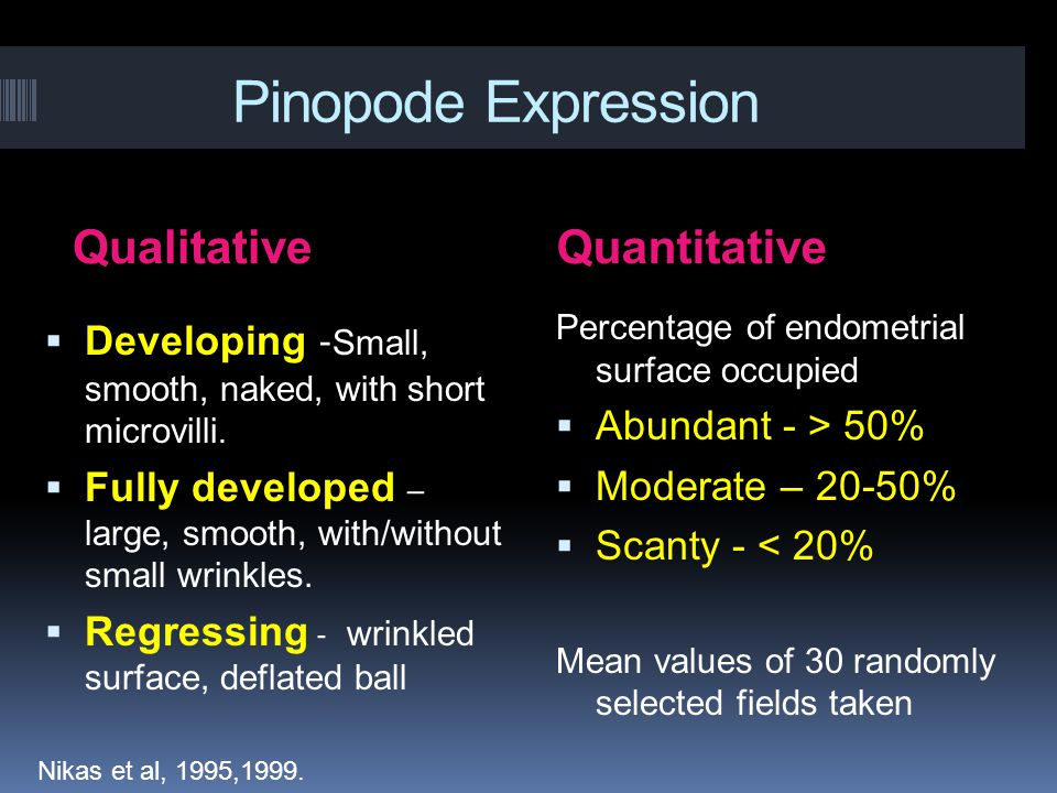 Pinopode Expression QualitativeQuantitative  Developing - Small, smooth, naked, with short microvilli.