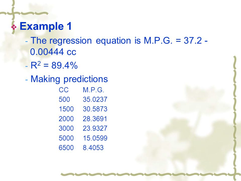  Example 1 - The regression equation is M.P.G.