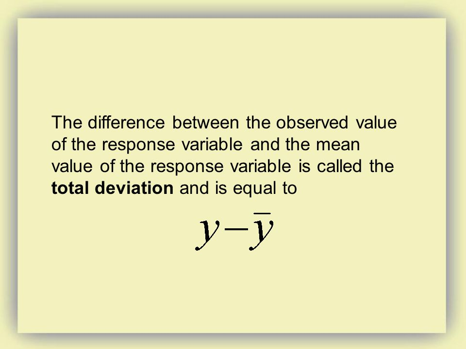 The difference between the observed value of the response variable and the mean value of the response variable is called the total deviation and is equal to