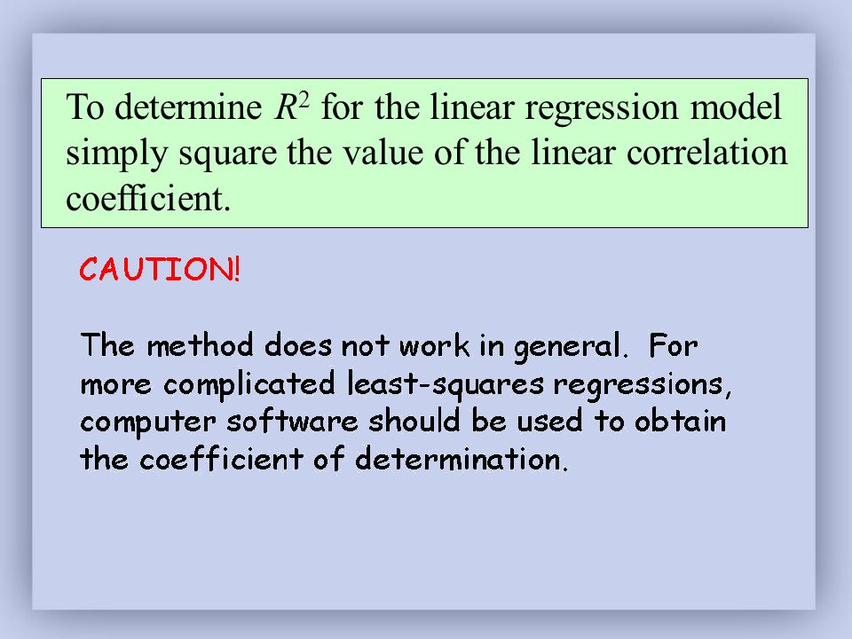 To determine R 2 for the linear regression model simply square the value of the linear correlation coefficient.