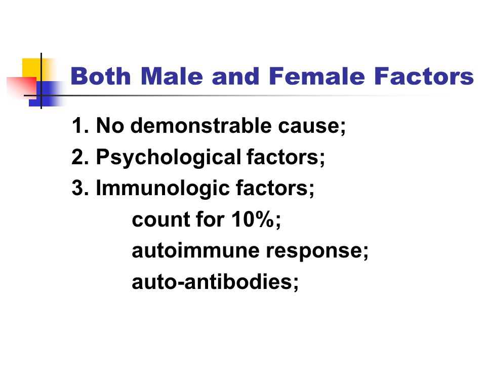 Both Male and Female Factors 1.No demonstrable cause; 2.