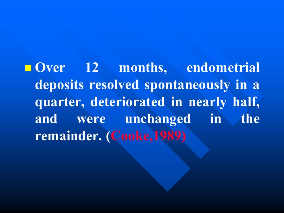 n n Over 12 months, endometrial deposits resolved spontaneously in a quarter, deteriorated in nearly half, and were unchanged in the remainder.