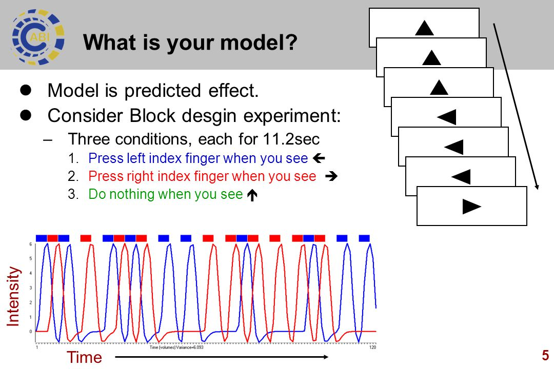 5 What is your model? Model is predicted effect. Consider Block desgin experiment: –Three conditions, each for 11.2sec 1.Press left index finger when