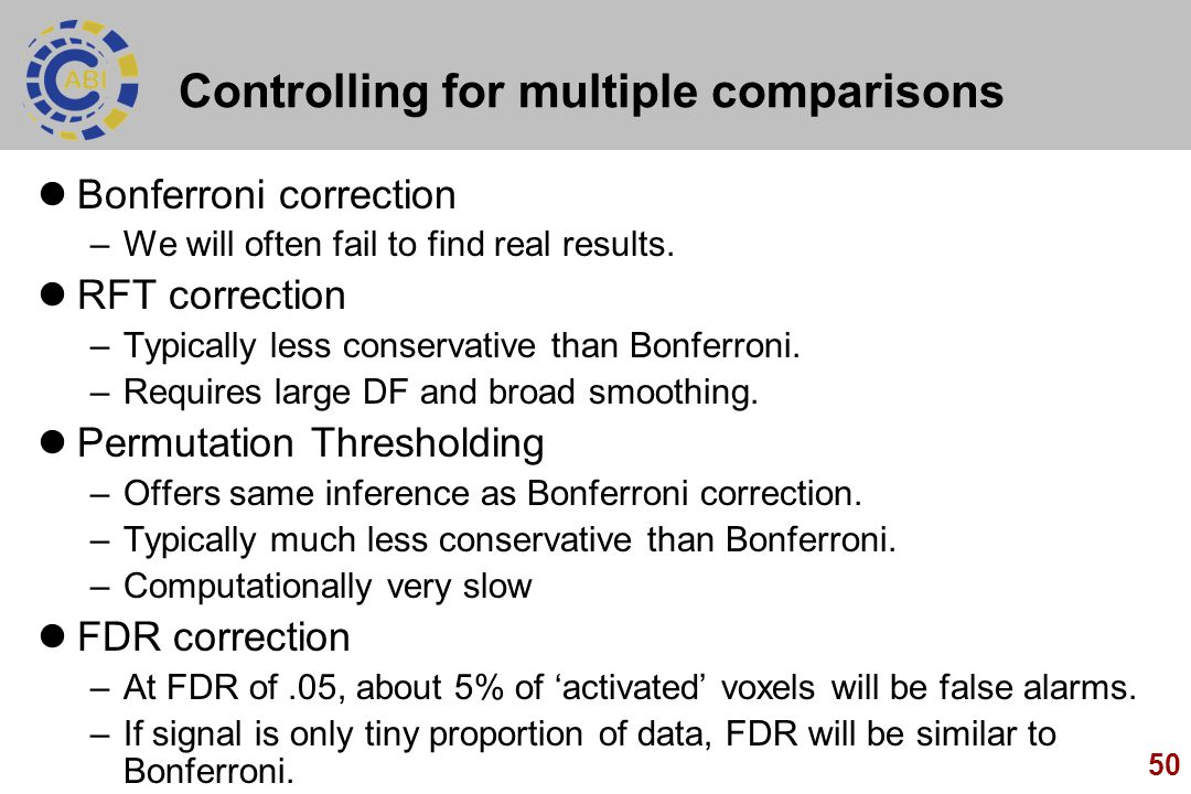 50 Controlling for multiple comparisons Bonferroni correction –We will often fail to find real results. RFT correction –Typically less conservative th