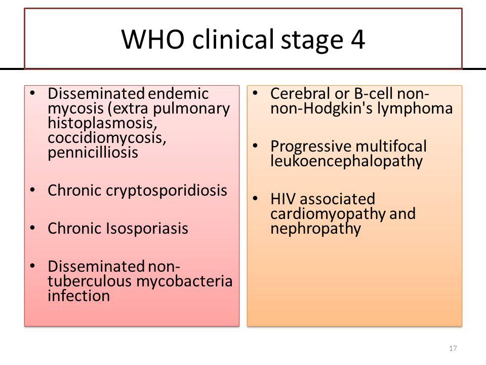 WHO clinical stage 4 Disseminated endemic mycosis (extra pulmonary histoplasmosis, coccidiomycosis, pennicilliosis Chronic cryptosporidiosis Chronic I