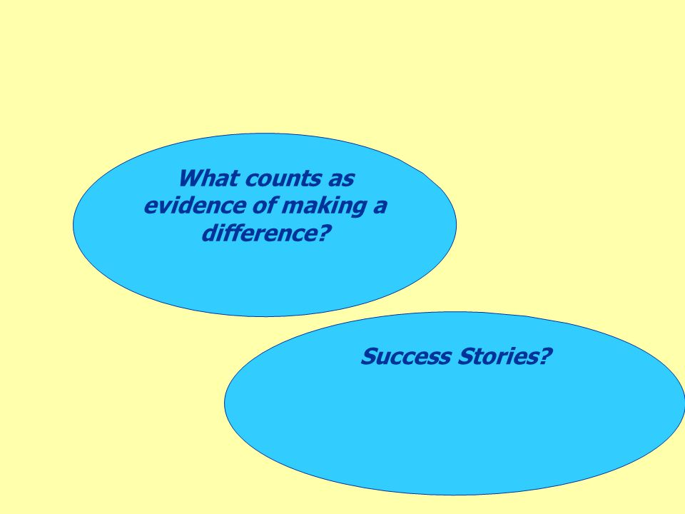 Success Stories? What counts as evidence of making a difference?