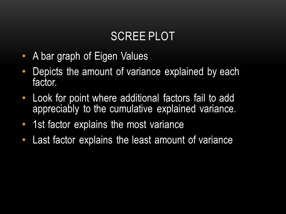 SCREE PLOT A bar graph of Eigen Values Depicts the amount of variance explained by each factor.