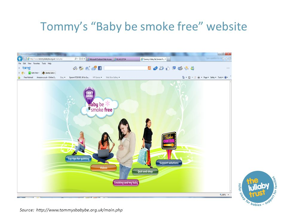 """Tommy's """"Baby be smoke free"""" website Source: http://www.tommysbabybe.org.uk/main.php"""