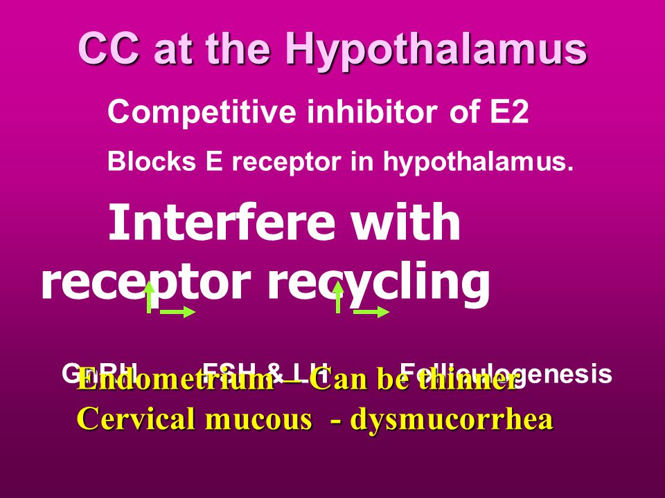 CC at the Hypothalamus Competitive inhibitor of E2 Blocks E receptor in hypothalamus.