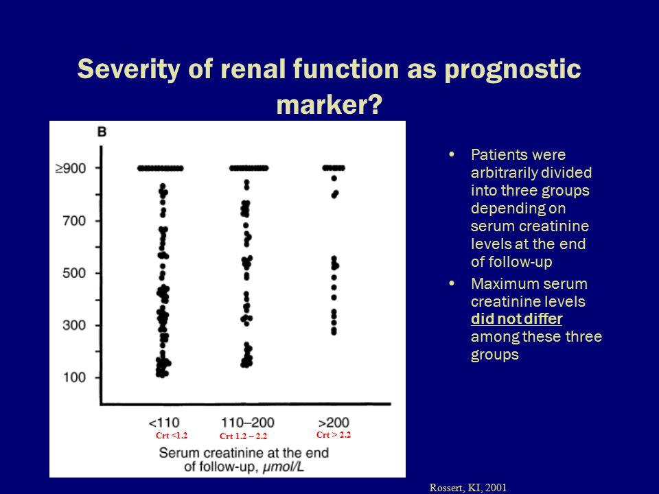 Severity of renal function as prognostic marker.