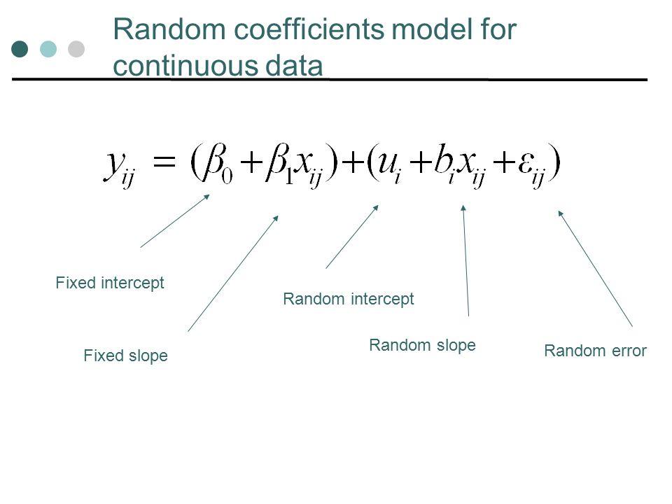 Random coefficients model for continuous data Fixed intercept Fixed slope Random intercept Random slope Random error