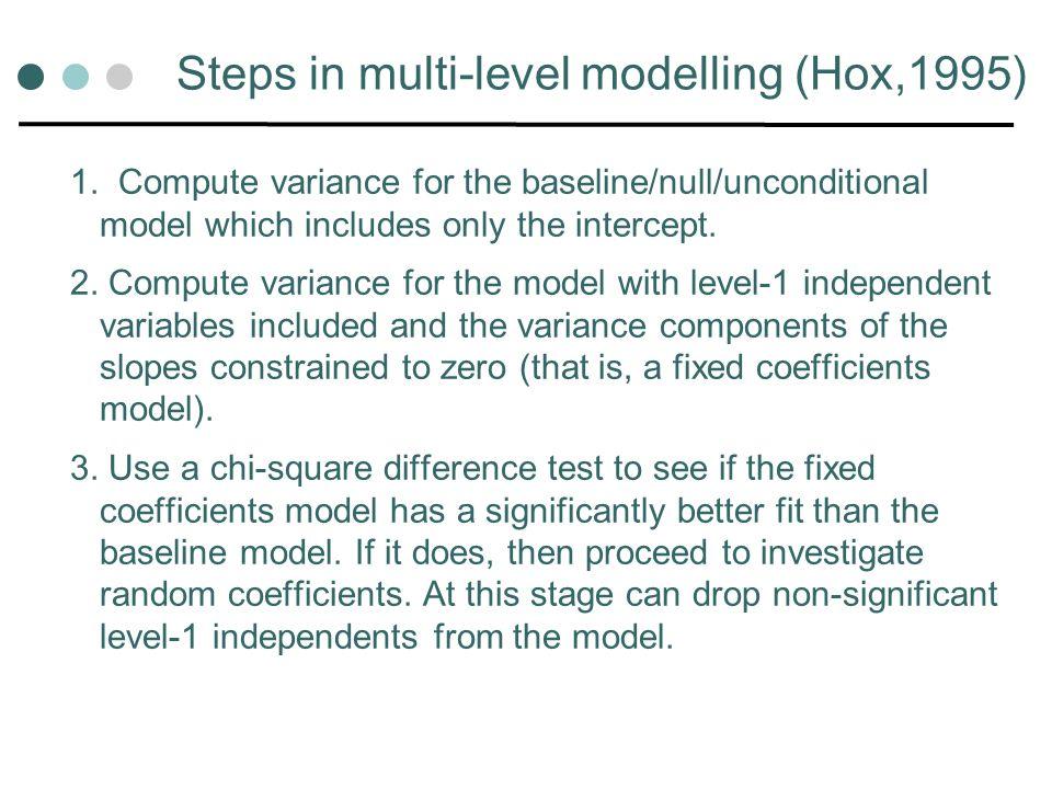 Steps in multi-level modelling (Hox,1995) 1.
