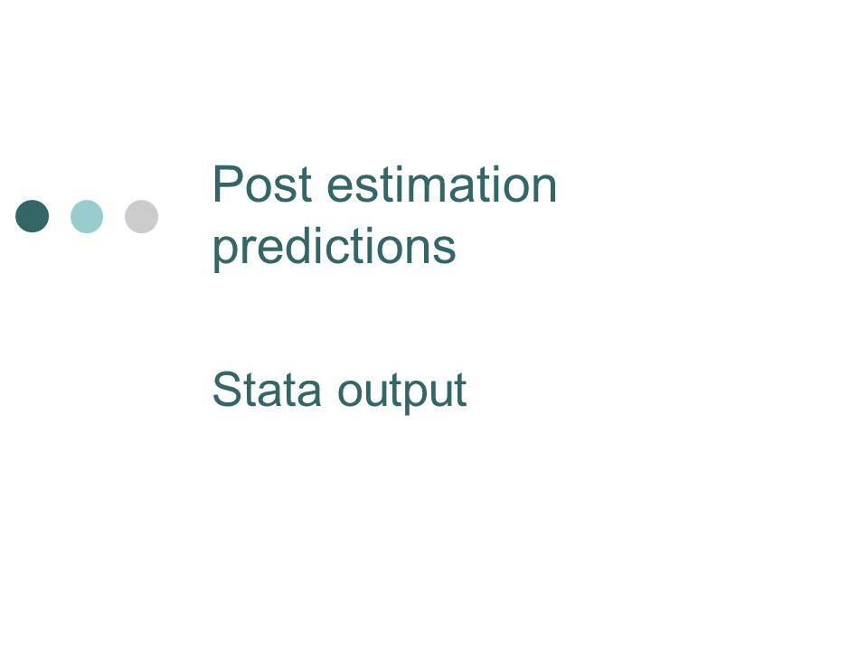 Post estimation predictions Stata output