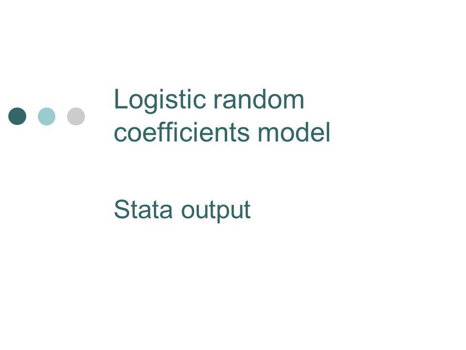Logistic random coefficients model Stata output