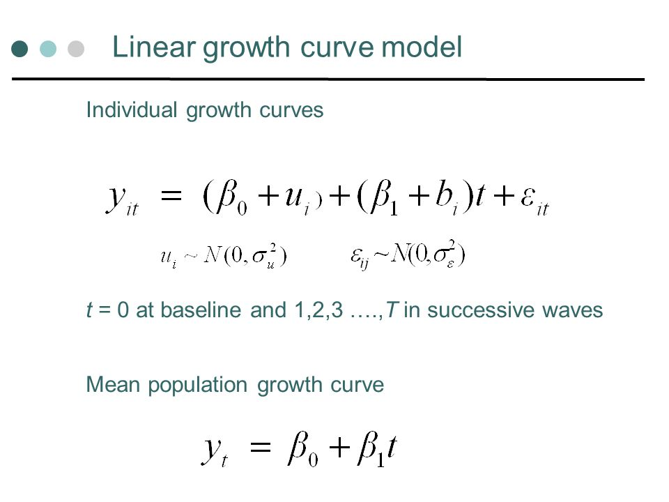 Linear growth curve model Individual growth curves t = 0 at baseline and 1,2,3 ….,T in successive waves Mean population growth curve