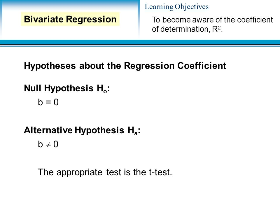 Learning Objectives Hypotheses about the Regression Coefficient Null Hypothesis H o : b = 0 Alternative Hypothesis H a : b  0 The appropriate test is the t-test.