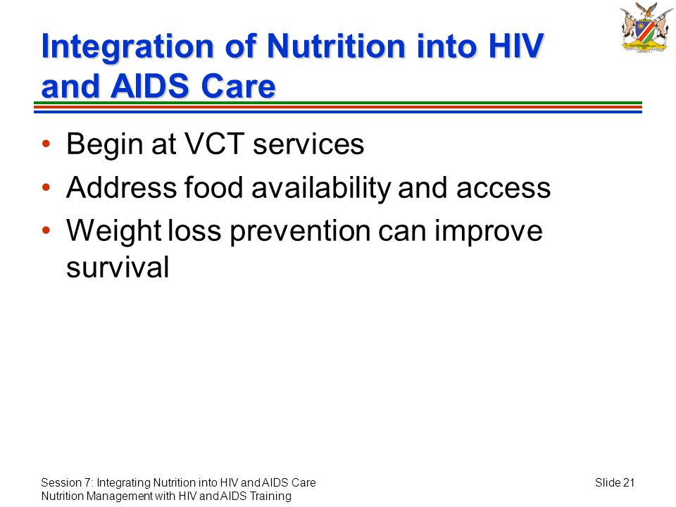 Session 7: Integrating Nutrition into HIV and AIDS Care Nutrition Management with HIV and AIDS Training Slide 21 Integration of Nutrition into HIV and