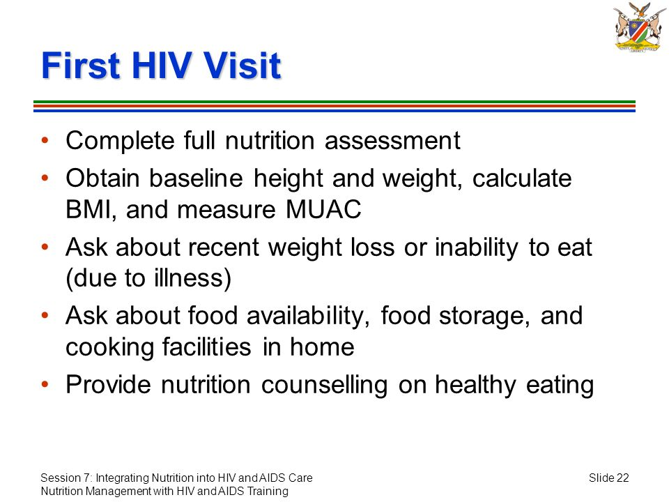Session 7: Integrating Nutrition into HIV and AIDS Care Nutrition Management with HIV and AIDS Training Slide 22 First HIV Visit Complete full nutriti