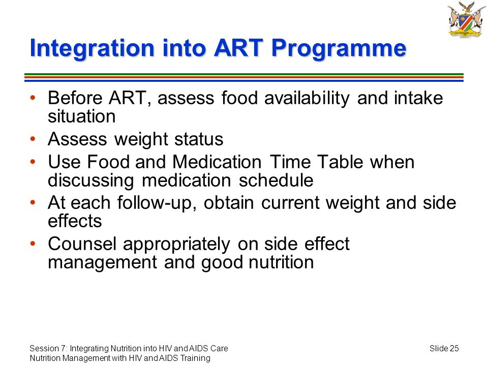 Session 7: Integrating Nutrition into HIV and AIDS Care Nutrition Management with HIV and AIDS Training Slide 25 Integration into ART Programme Before