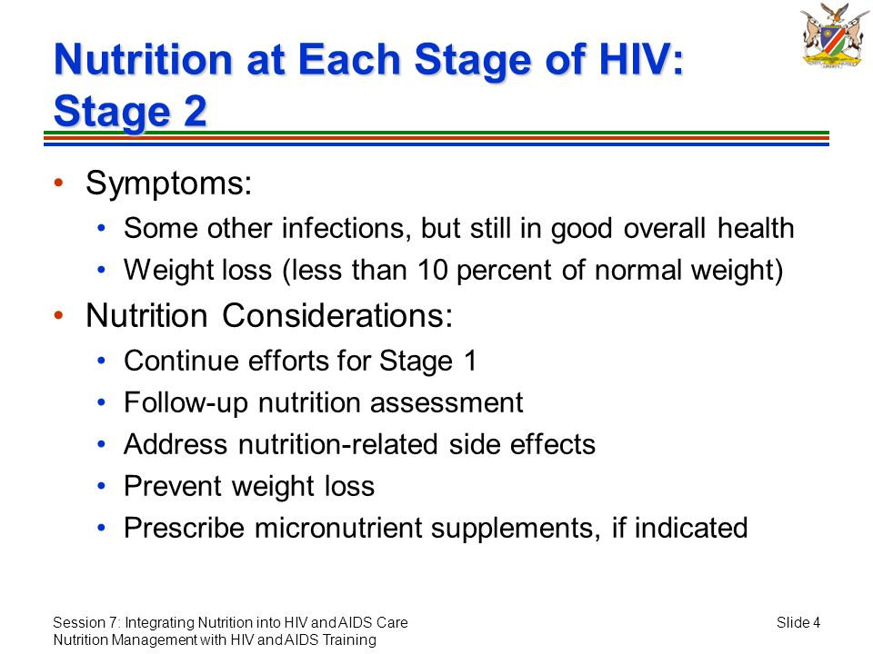 Session 7: Integrating Nutrition into HIV and AIDS Care Nutrition Management with HIV and AIDS Training Slide 4 Nutrition at Each Stage of HIV: Stage