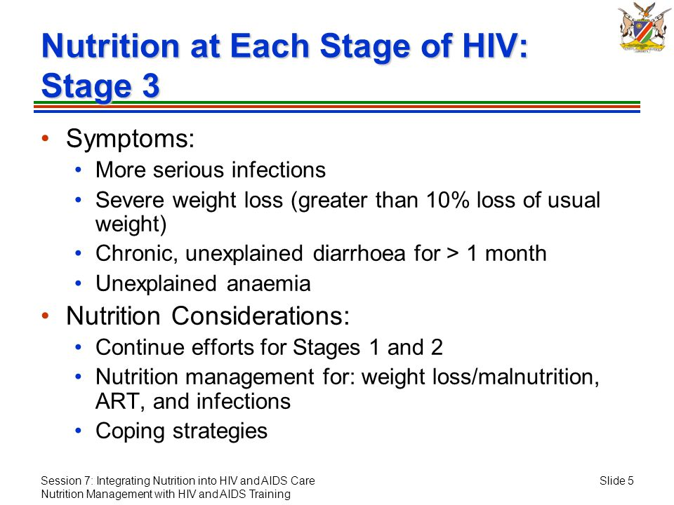 Session 7: Integrating Nutrition into HIV and AIDS Care Nutrition Management with HIV and AIDS Training Slide 5 Nutrition at Each Stage of HIV: Stage