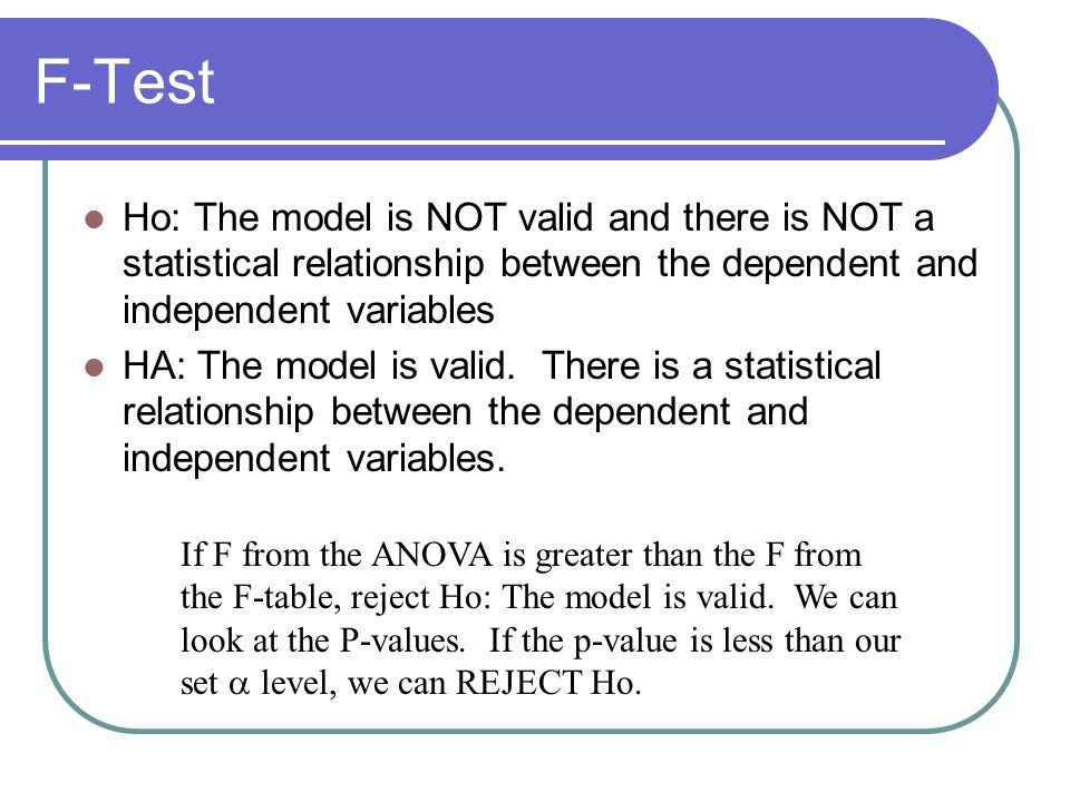 Ho: The model is NOT valid and there is NOT a statistical relationship between the dependent and independent variables HA: The model is valid. There i