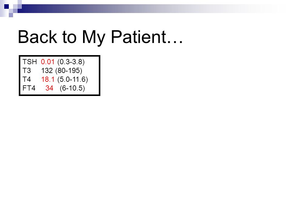 Back to My Patient… TSH 0.01 (0.3-3.8) T3 132 (80-195) T4 18.1 (5.0-11.6) FT4 34 (6-10.5)