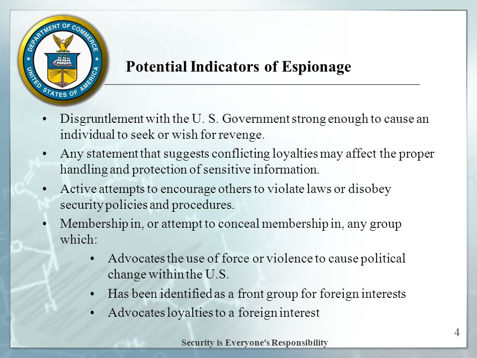 4 Potential Indicators of Espionage Disgruntlement with the U.