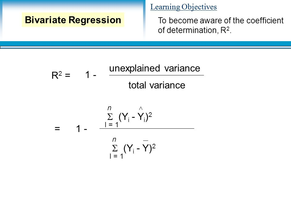 Learning Objectives R 2 = 1 - unexplained variance total variance =1 -  (Y i - Y i ) 2 n I = 1  (Y i - Y) 2 n I = 1 To become aware of the coefficient of determination, R 2.