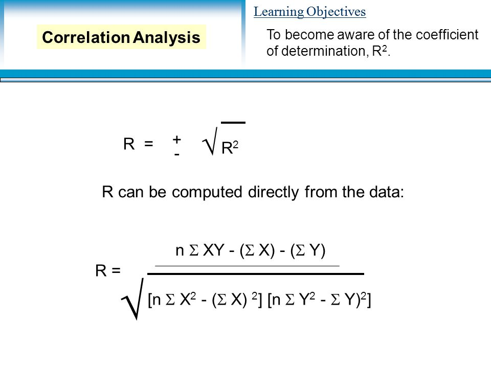 Learning Objectives R = + - R2R2 √ R can be computed directly from the data: R = n  XY - (  X) - (  Y) [n  X 2 - (  X) 2 ] [n  Y 2 -  Y) 2 ] √ To become aware of the coefficient of determination, R 2.