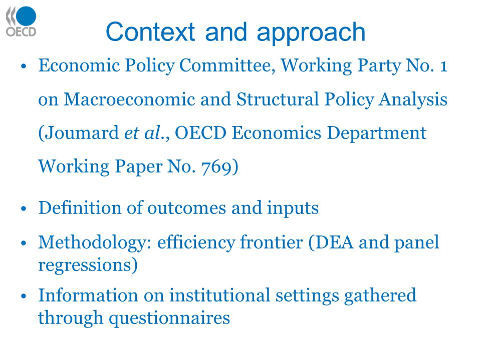 Context and approach Economic Policy Committee, Working Party No.