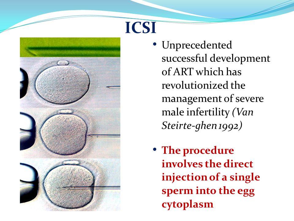Unprecedented successful development of ART which has revolutionized the management of severe male infertility (Van Steirte-ghen 1992) The procedure i