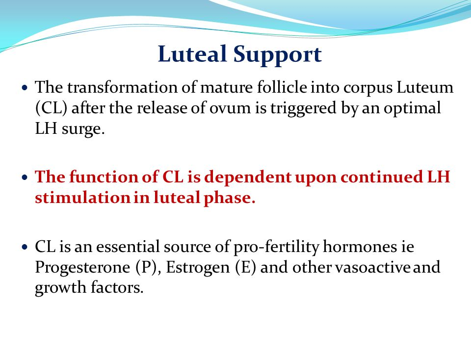 The transformation of mature follicle into corpus Luteum (CL) after the release of ovum is triggered by an optimal LH surge. The function of CL is dep