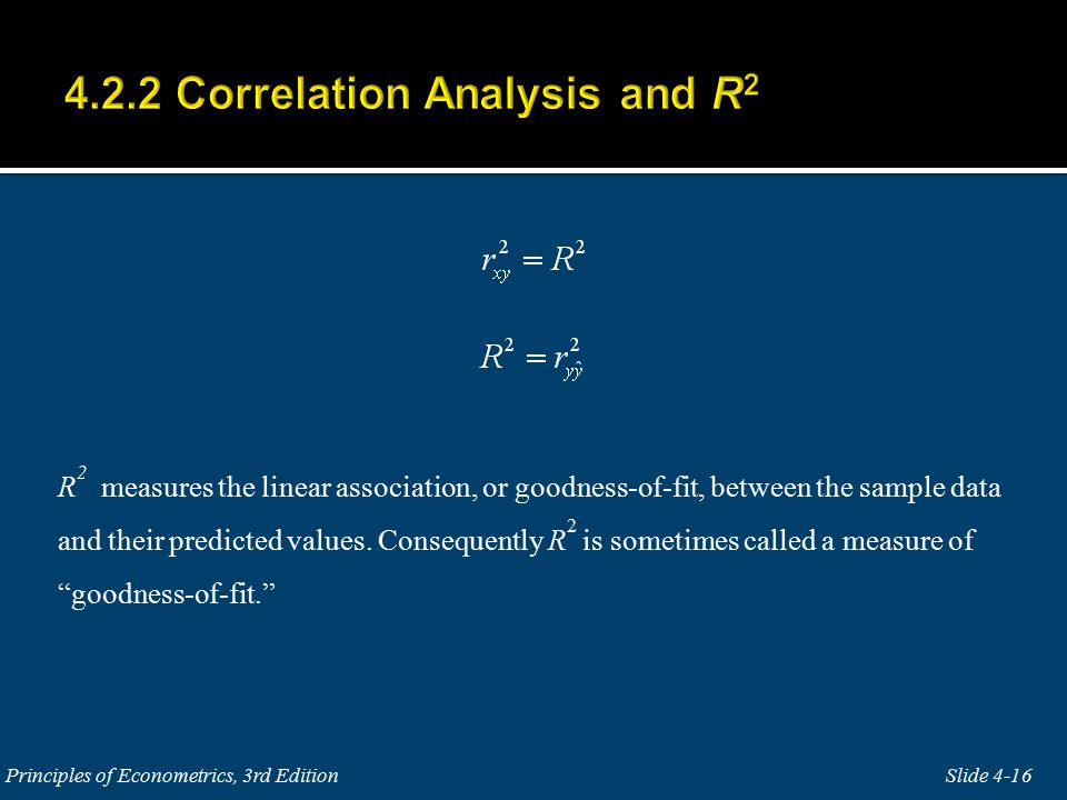 R 2 measures the linear association, or goodness-of-fit, between the sample data and their predicted values.