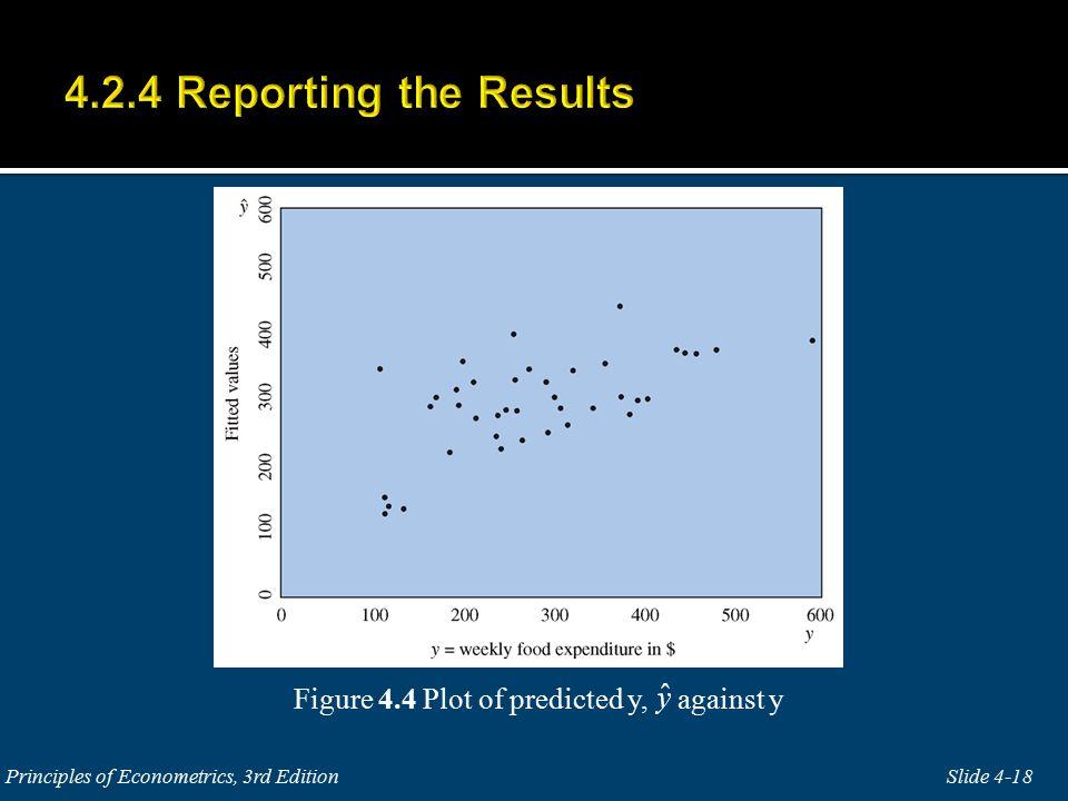 Figure 4.4 Plot of predicted y, against y Slide 4-18 Principles of Econometrics, 3rd Edition