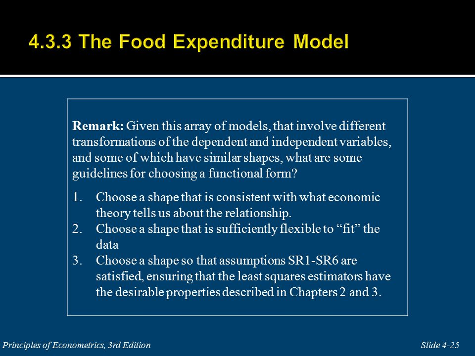 Remark: Given this array of models, that involve different transformations of the dependent and independent variables, and some of which have similar shapes, what are some guidelines for choosing a functional form.