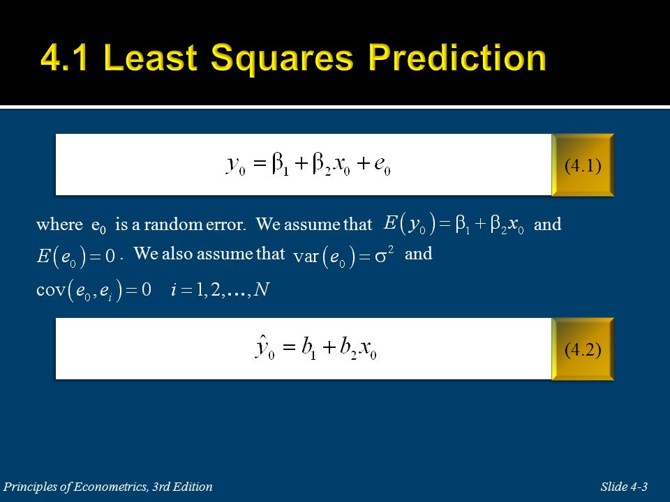 where e 0 is a random error. We assume that and. We also assume that and