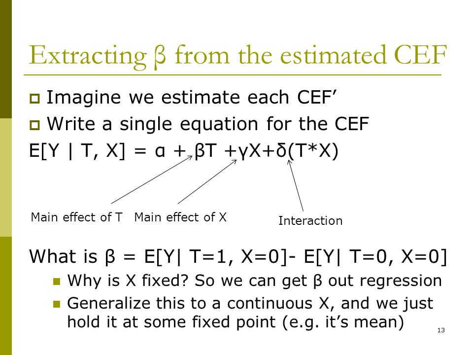 Extracting β from the estimated CEF  Imagine we estimate each CEF'  Write a single equation for the CEF E[Y | T, X] = α + βT +γX+δ(T*X) What is β =